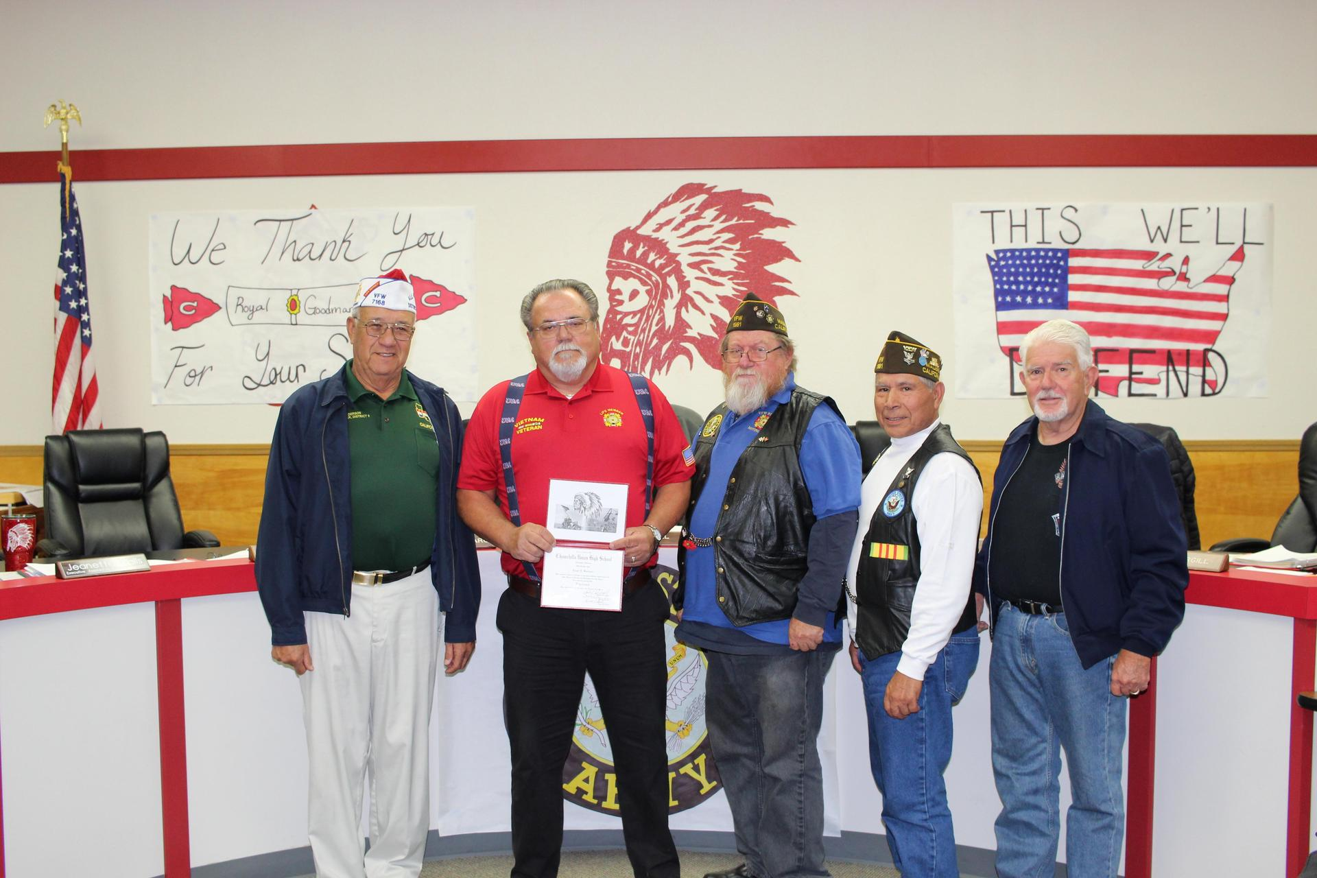 Royal Goodman poses with members of his VFW Post.