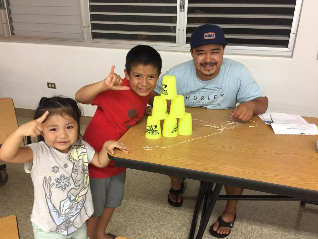Family completing cup challenge.