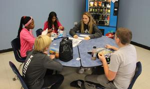 Middle School students meet with high school students for lunch on Mix It Up Day.