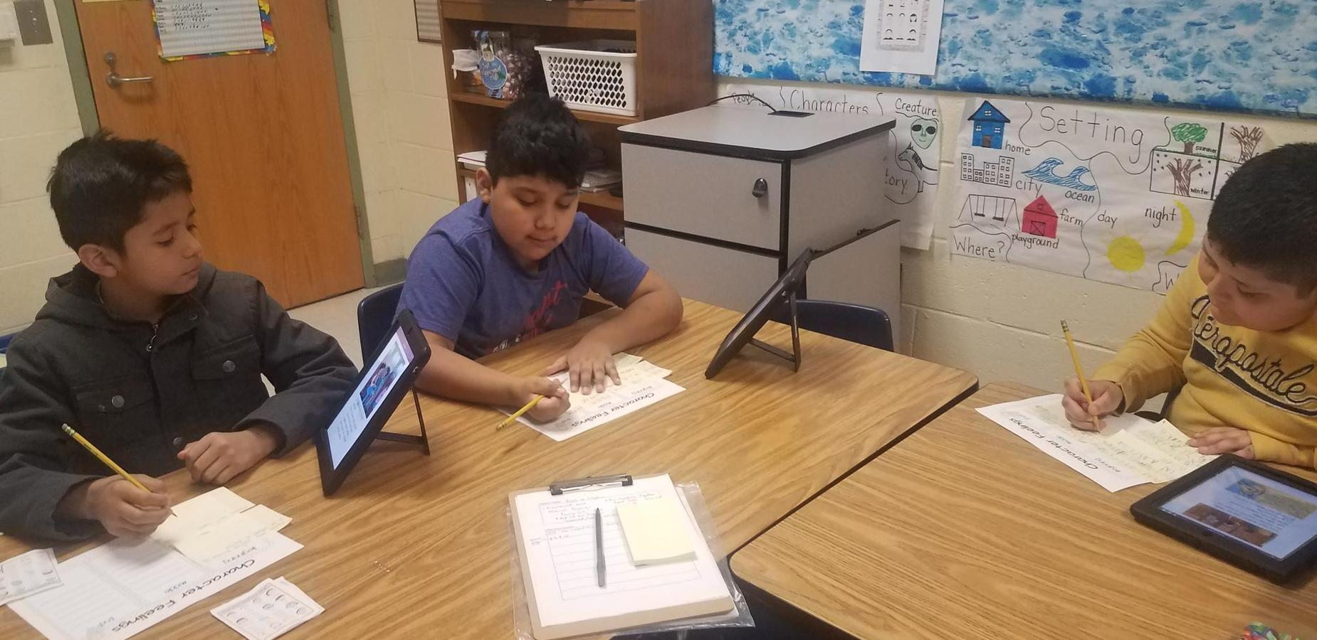 ESL Students working with iPads