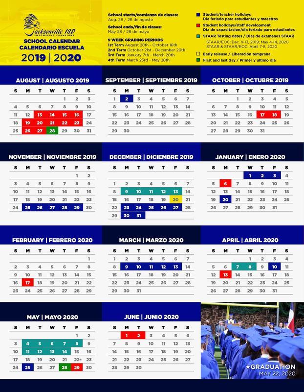 NEW 2019-20 JISD School Calendar