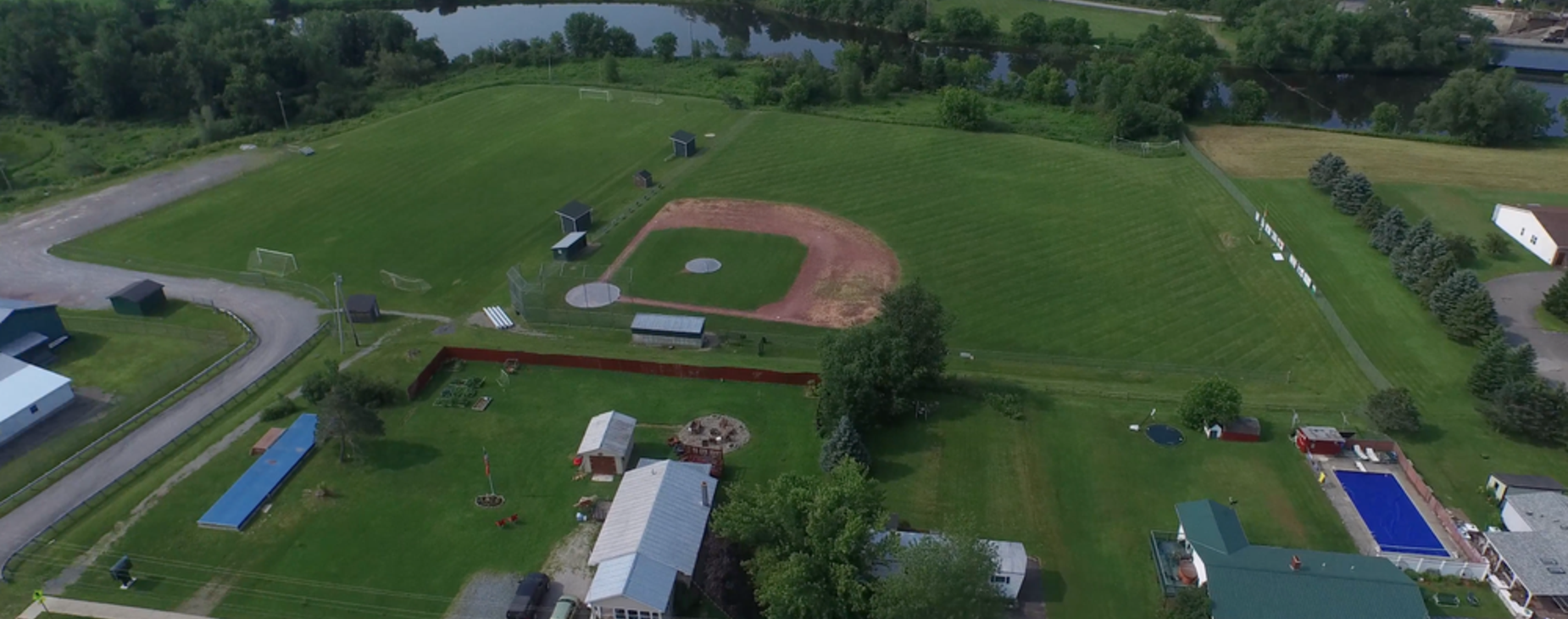 drone view of school