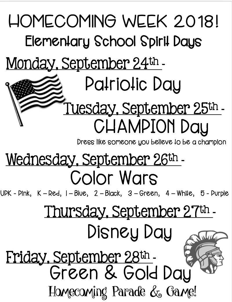 Elementary Homecoming Theme Day Schedule Featured Photo