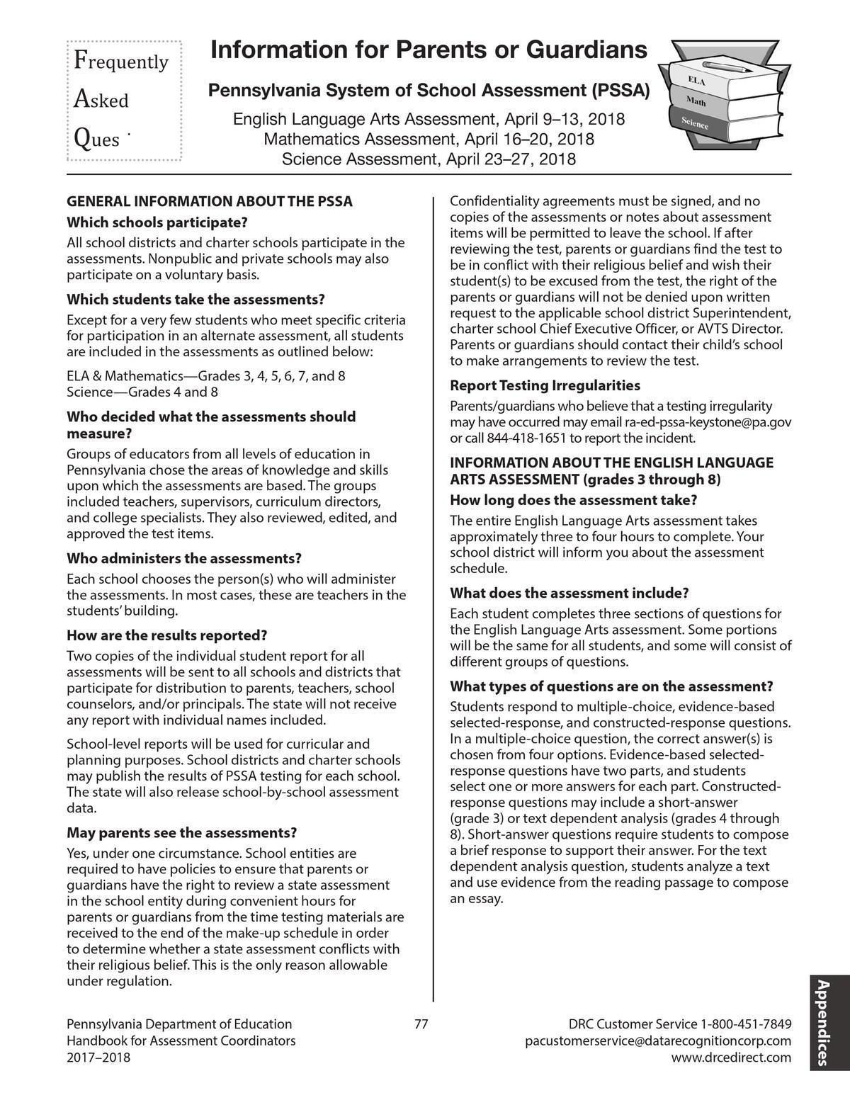 PSSA/Keystone FAQs