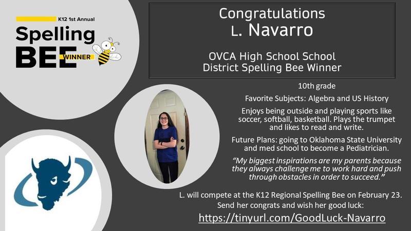 District High School Spelling Bee Winner! Featured Photo