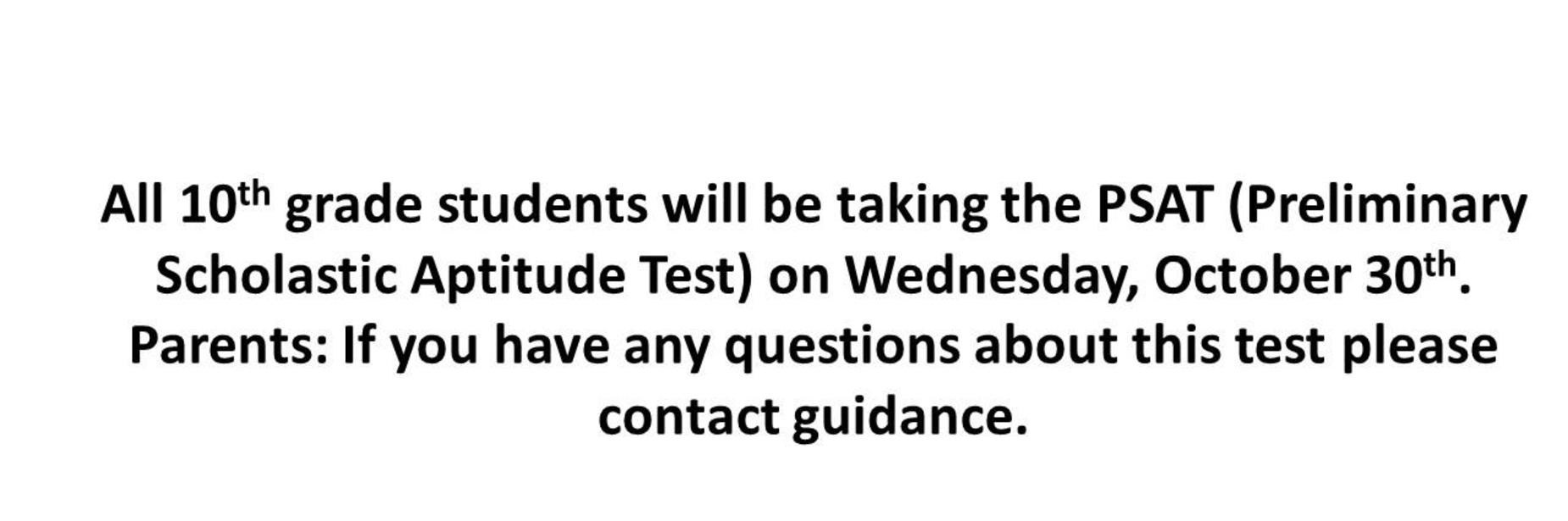 PSAT test announcement