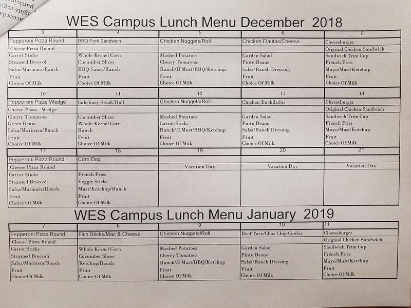 December Lunch Menu 2018
