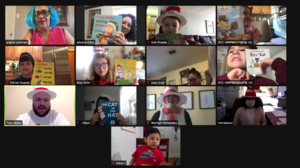 Zoom class holding books