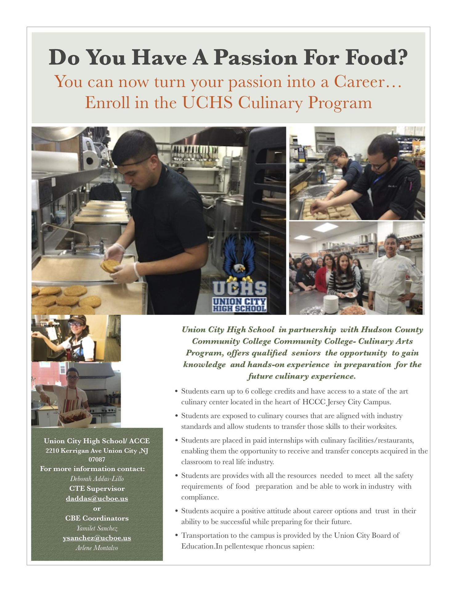 Culinary program partnership flyer