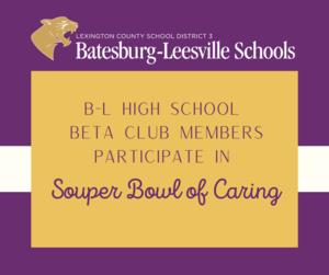 B-L High School Senior Beta Club Participates in Souper Bowl of Caring