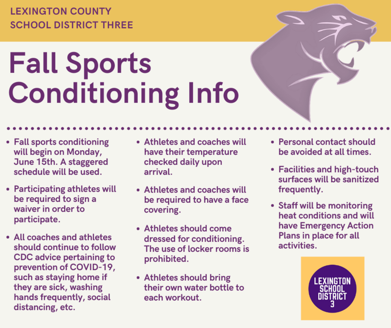 Lexington Three Announces Summer Workout/Conditioning Plan for Fall Sports