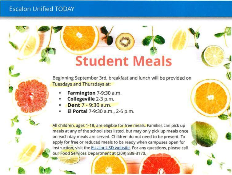 Free lunch pick up schedule