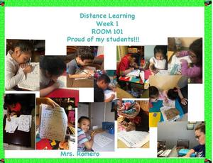 collage of kids home doing their work