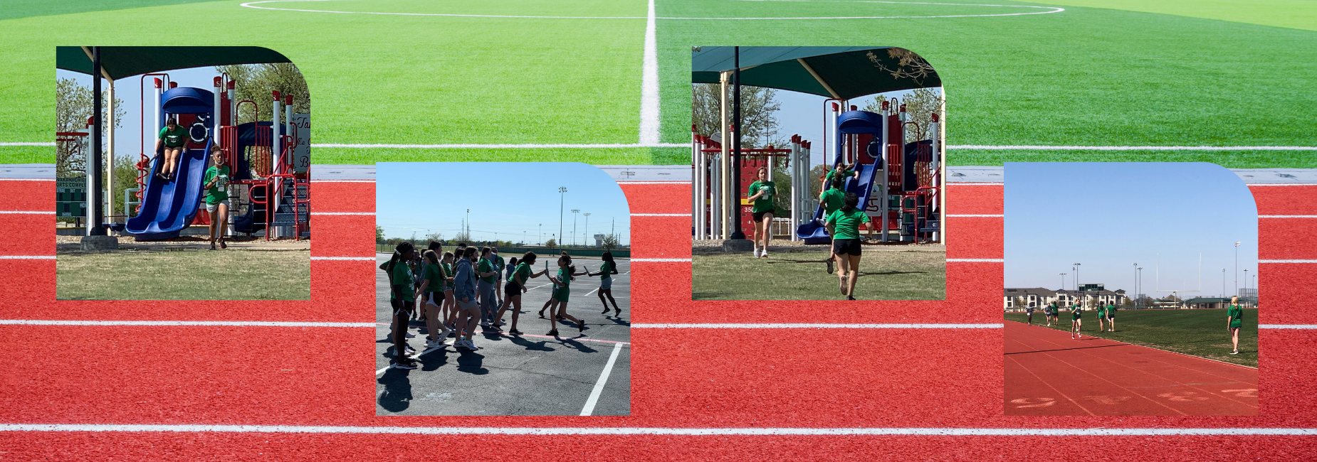 collage of teen girls running relays at the playground