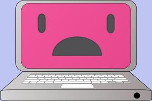 Computer with a worried expression on the screen