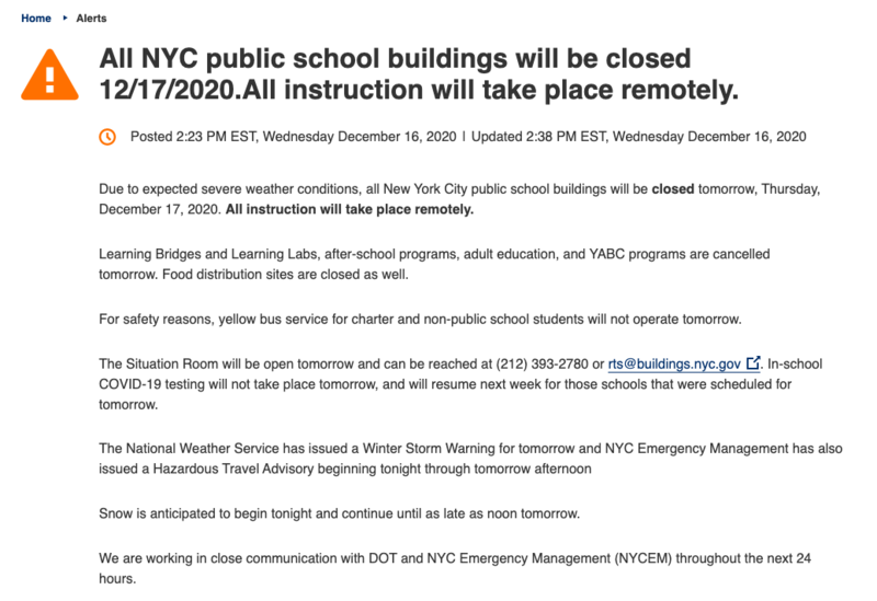 Announcement of School closure on DOE Site English