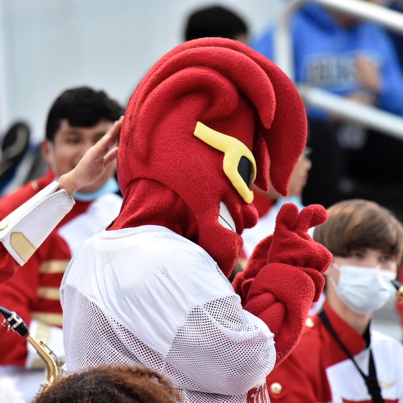 An EHS student dressed as the Crimson Tide wave mascot