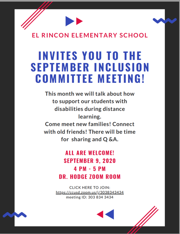 Inclusion Committee Meeting:  September 9, 2020 Featured Photo
