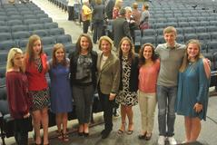 US Senator Shelley Moore Capito with some of the BUHS YLA members.