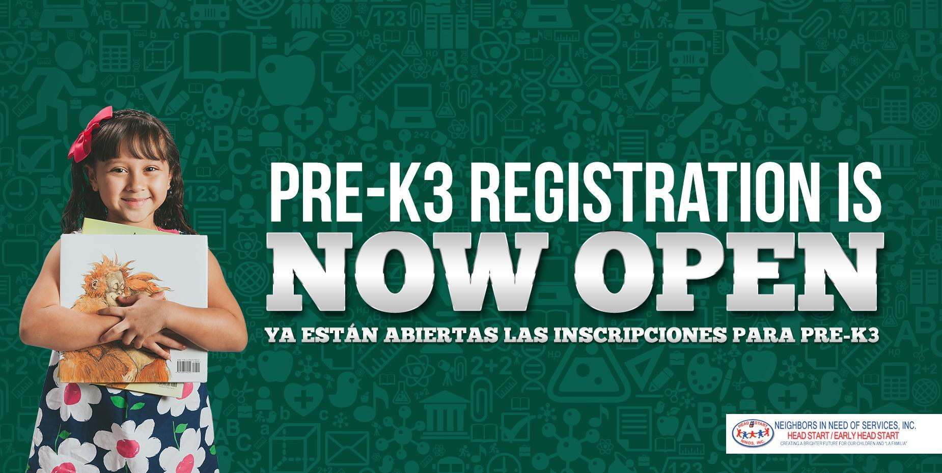 PRE-K3 Registration is Now Open