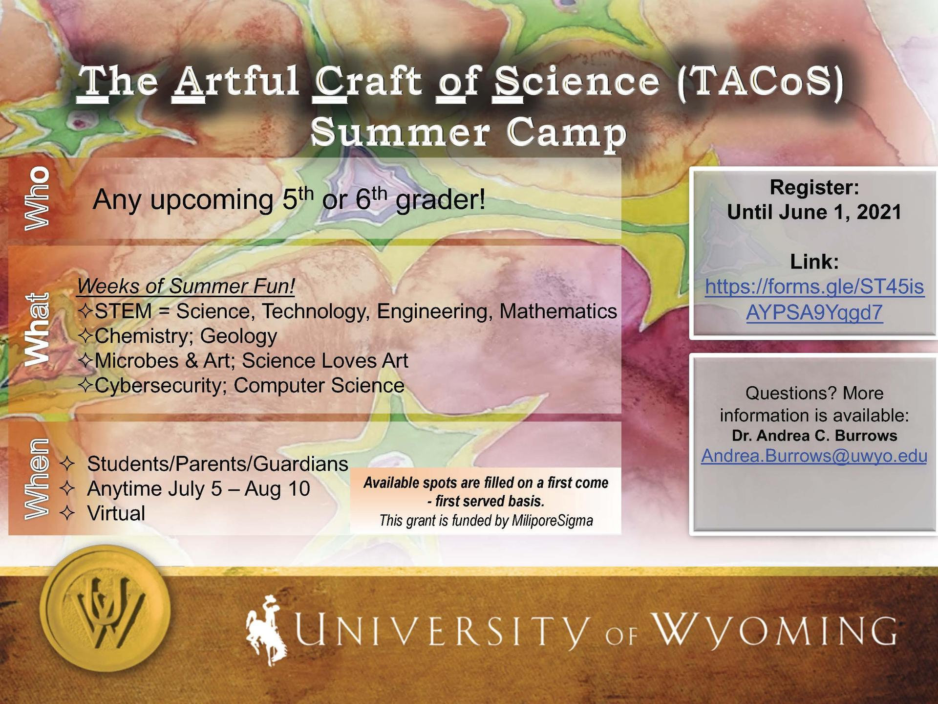 University of Wyoming TACoS Summer Camp Flyer