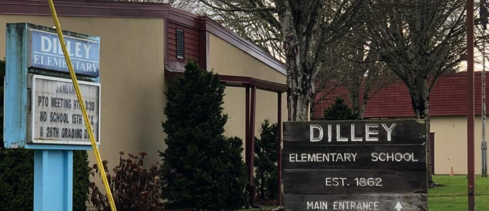 Dilley Elementary welcome sign in front of school