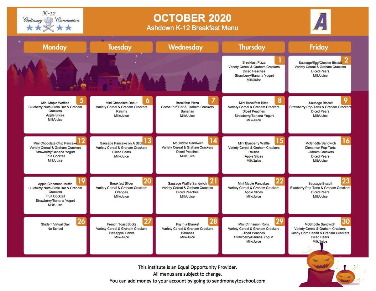 Updated K-12 Breakfast Menu October