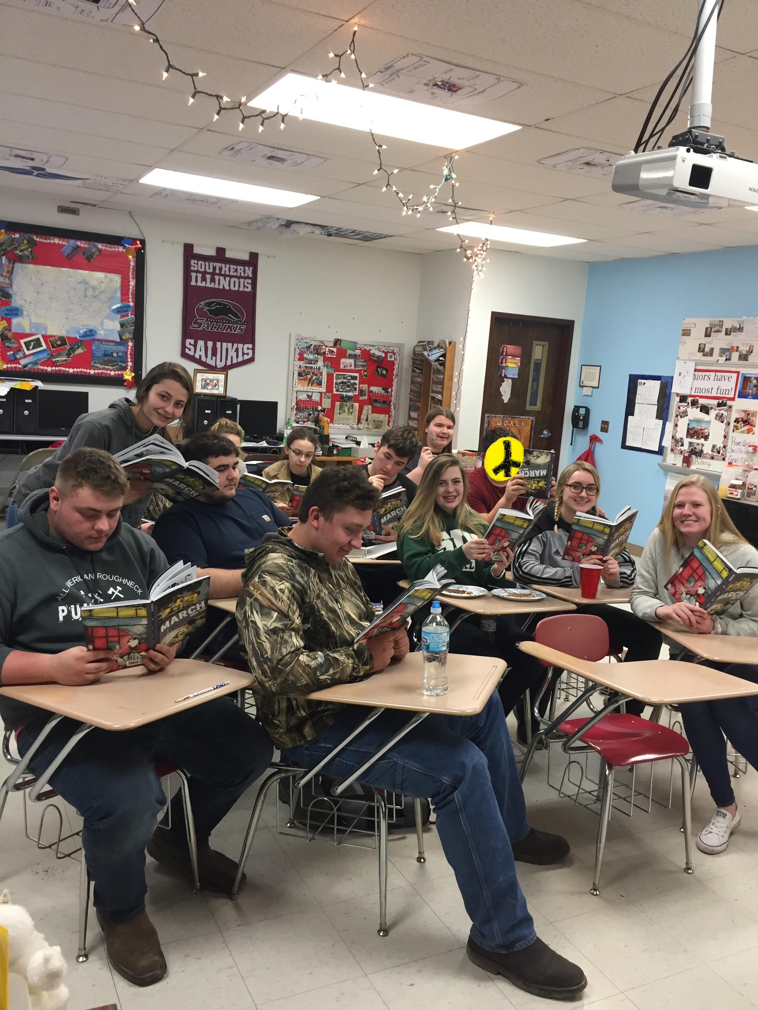 The Juniors read March II and celebrate John Lewis's birthday!