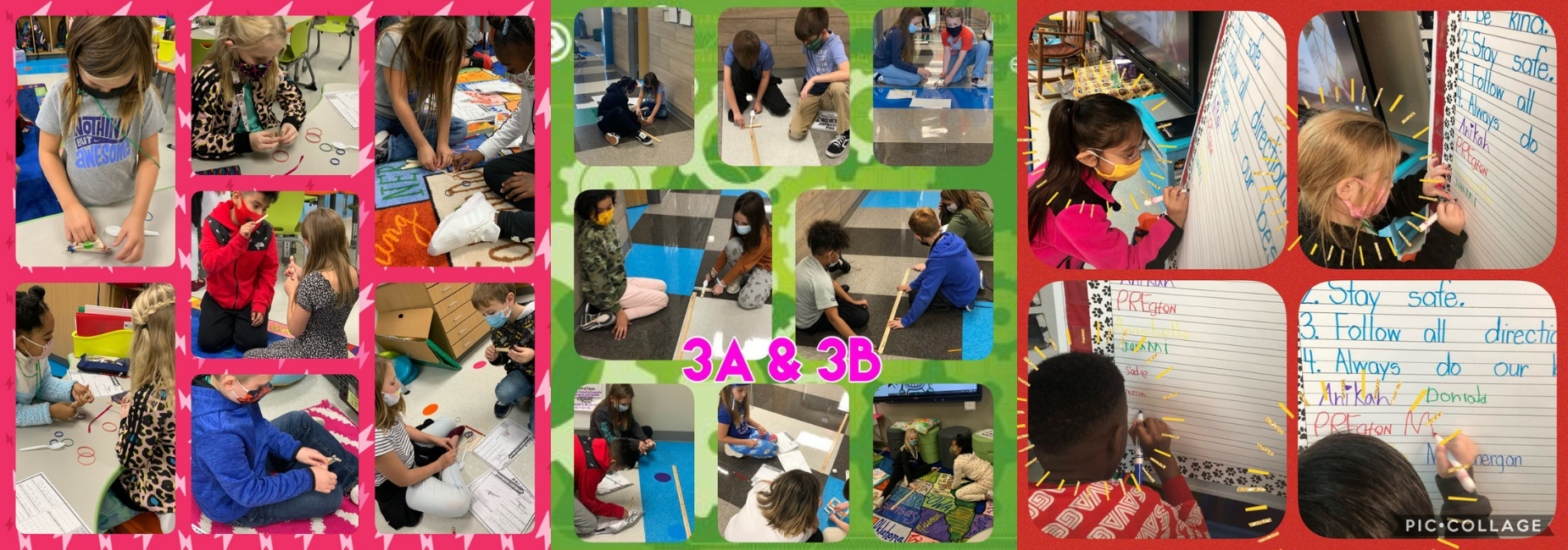 collage of students busy working in class