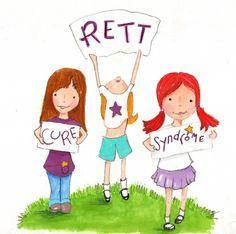 Clip art of three girls holding signs for Rett Syndrome cure.