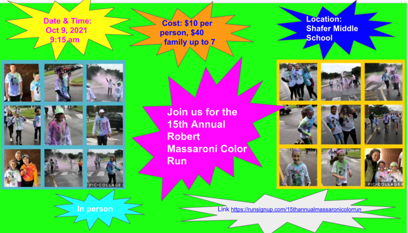 Colorful flyer advertising date, time, info for Massaroni Annual Color Run on October 9
