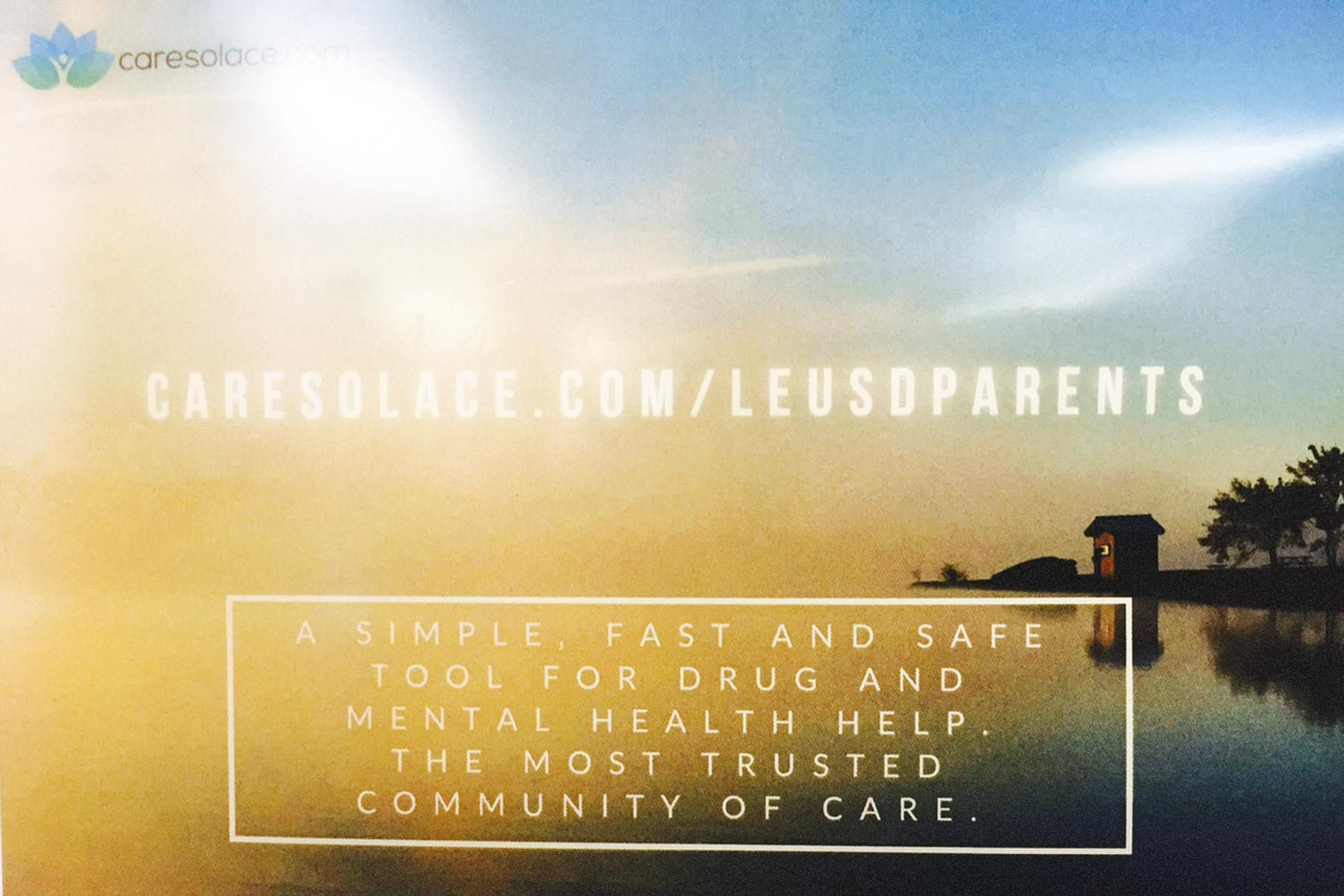 web site for mental health services at Caresolace.com/leusdparents