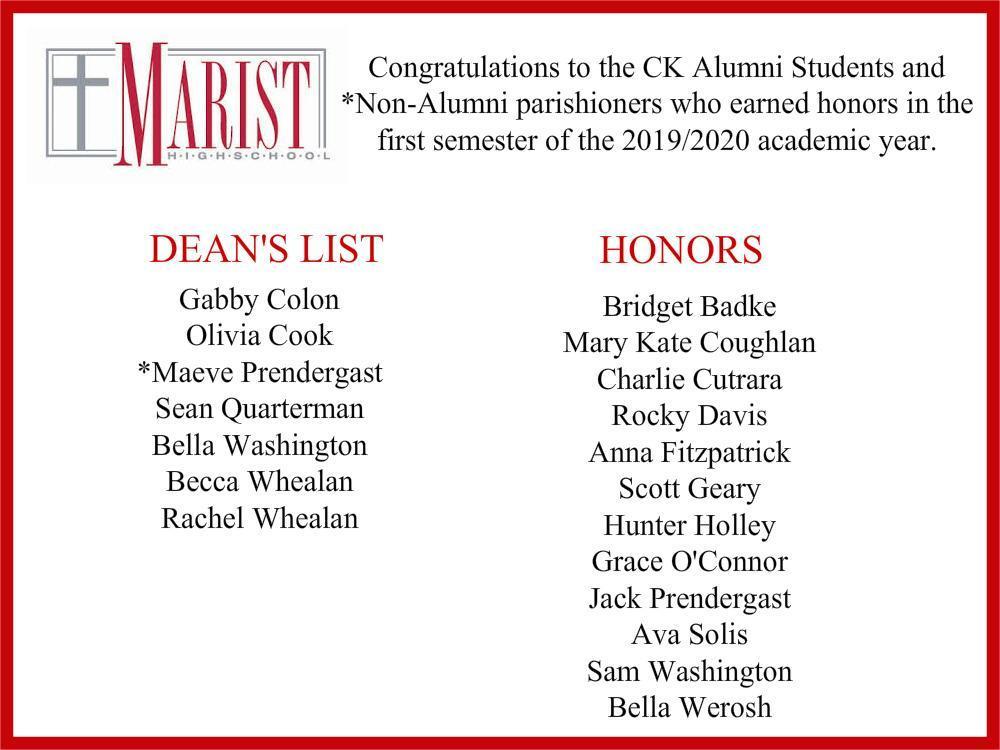 Marist HS Honors