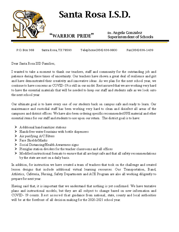 LETTER TO PARENTS OF SANTA ROSA I.S.D Featured Photo