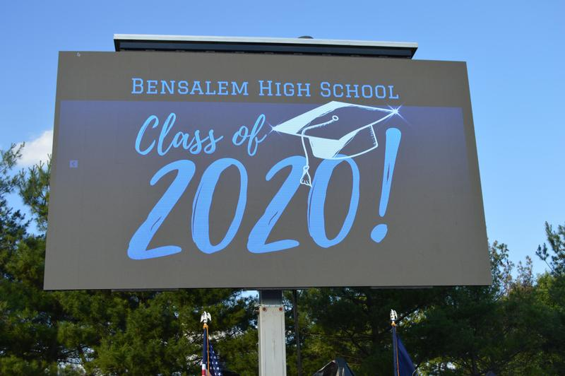 Bensalem High School Class of 2020 in blue with a graduation cap on a marquee