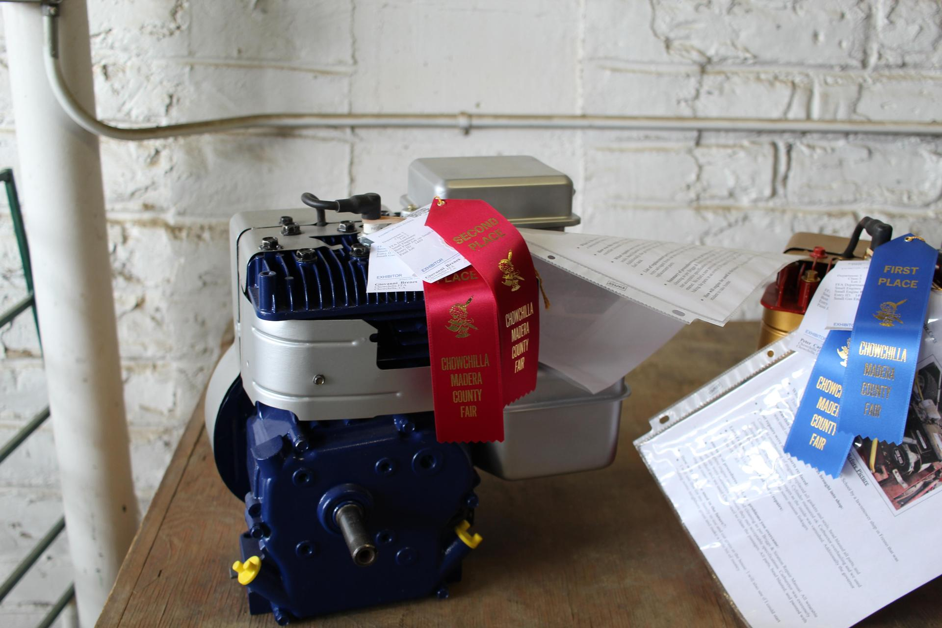 Student engine project on display
