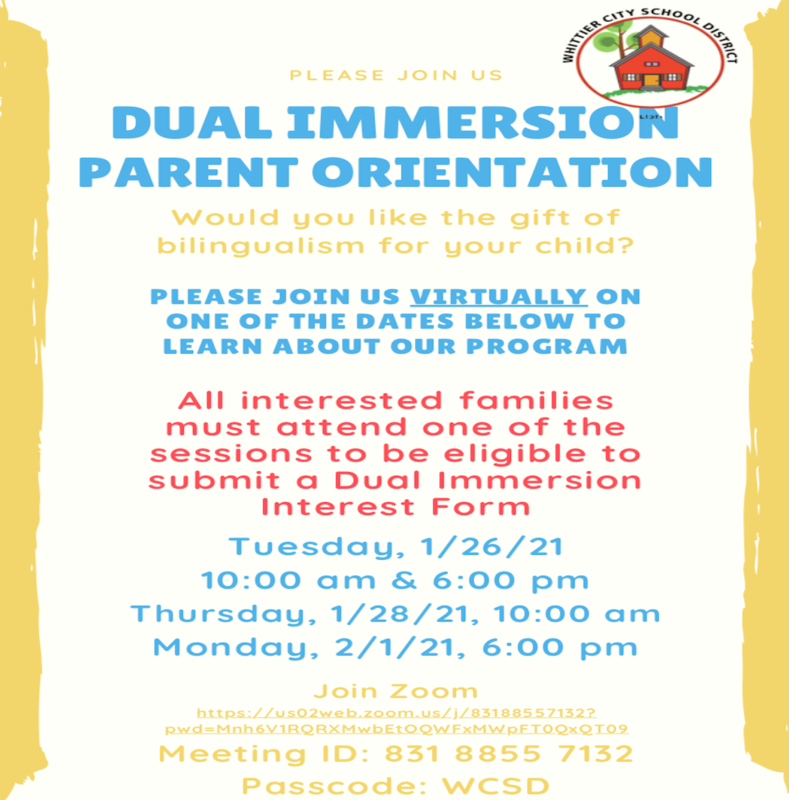 Dual Immersion Parent orientation Flyer