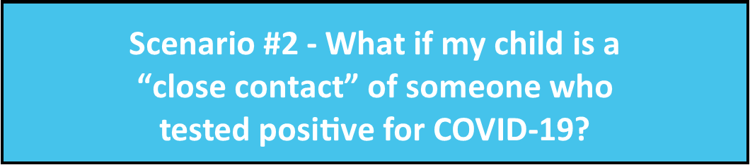 "Scenario 2 - What if my child is a ""close contact"" with someone who tests positive for COVID-19?"