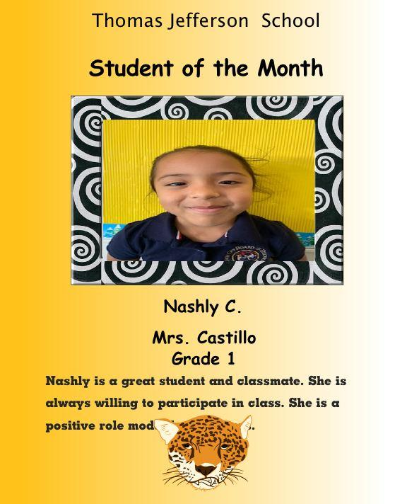 Nashly C. Student of the month December