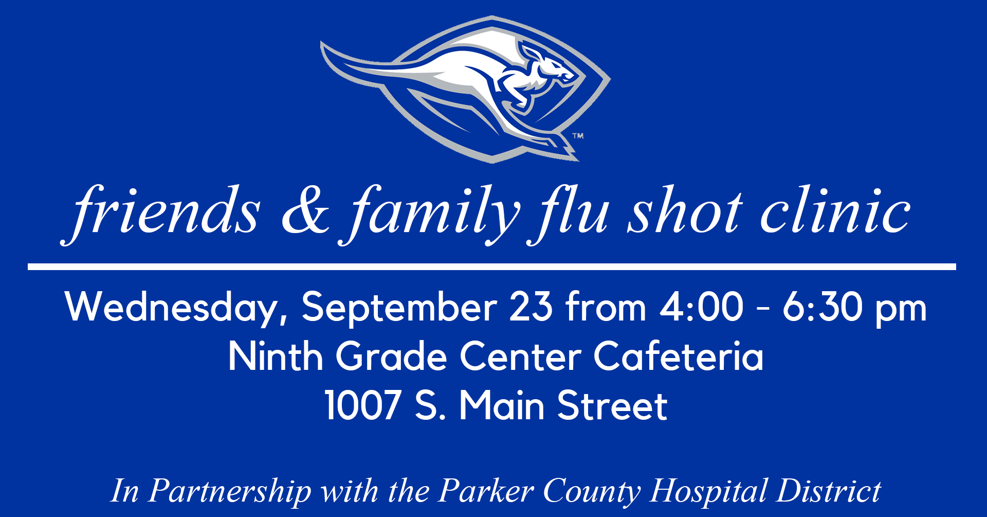WISD friends & family flu shot clinic image | September 23 from 4-6:30 at the Ninth Grade Center Cafeteria