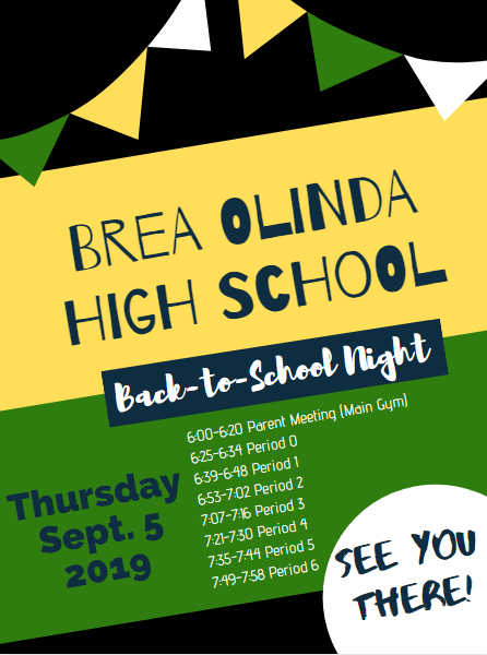 Brea Olinda High School Back to School Night on Thursday, September 5th at 6:00pm!