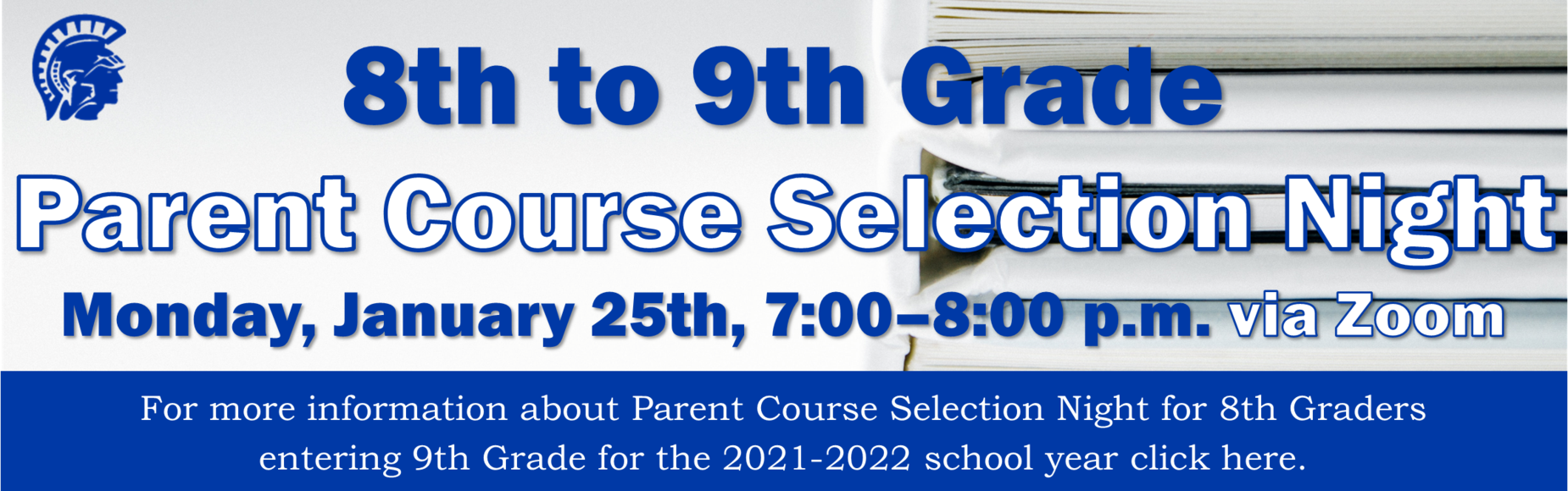8th to 9th Grade Parent Course Selection Night Banner Image