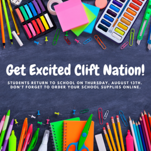 graphic of school supplies with back to school date and reminder to order supplies online