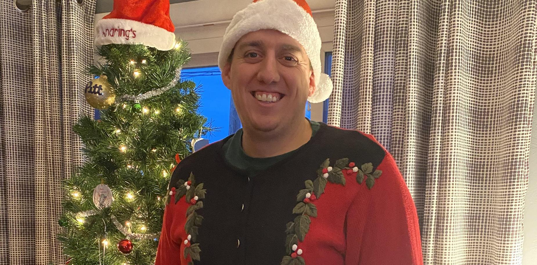 Teacher in Christmas attire