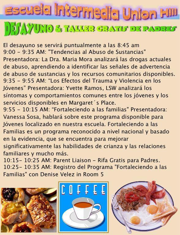 parent breakfast workshop on 10/26 spanish