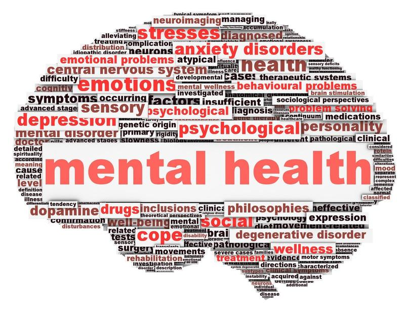 This is a brain with red text across it that reads mental health. The rest of the brain is filled in with words that are associated with mental health such as anxiety, depression, etc.