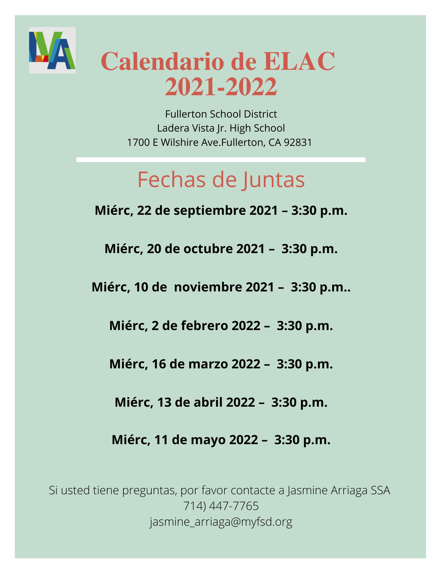 ELAC 21-22 Calendar Spanish