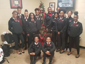 a holiday photo of the Baker High Girls Basketball Team