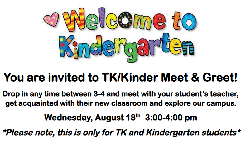 Kinder Meet and Greet on Wednesday 8/18 from 3-4