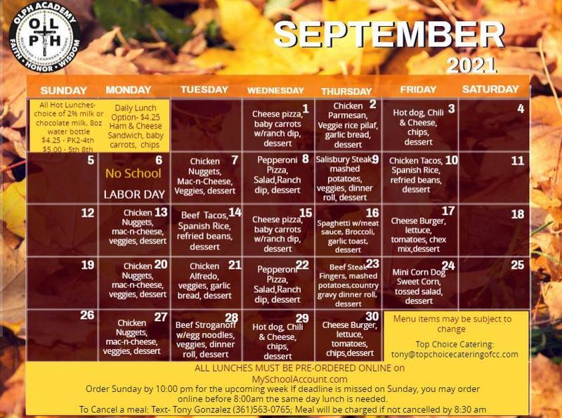 Sept. Lunch Menu